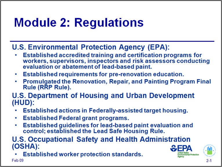Epa rrp the osha lead in construction standard worries for Construction rules and regulations