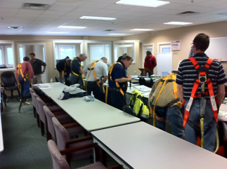 Donning Harnesses in Fall Protection class